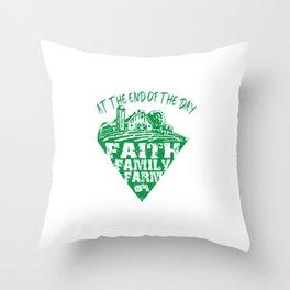 Faith Family Farm Throw Pillow