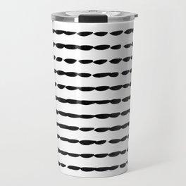Black Ink Brush Dash Lines Travel Mug