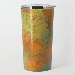 Floral Orange-Yellow-Green Travel Mug