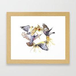 Autumn in the city Pigeon Wreath Framed Art Print