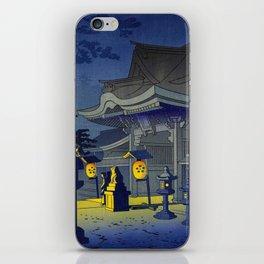 Japanese Woodblock Print Vintage Asian Art Colorful Woodblock Prints Shrine At Night Lantern iPhone Skin