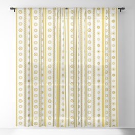 Yellow flowers align Sheer Curtain