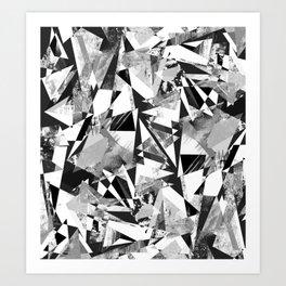 Monochrome sprayed textured triangles Art Print
