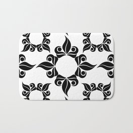 Decorative Black and White Pattern Bath Mat