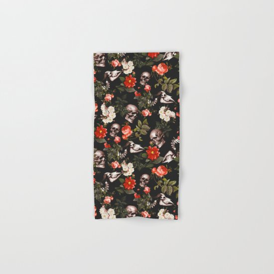 Floral and Skull Pattern Hand & Bath Towel