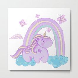 Unicorn, butterflies and rainbow -  white Metal Print
