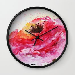Big Pink Rose Blossom watercolor by CheyAnne Sexton Wall Clock