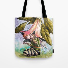 Fairy hiding under angel trumpet Tote Bag