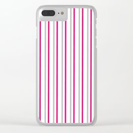 Grey pink stripes pattern Clear iPhone Case