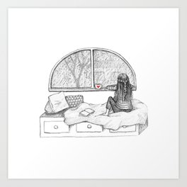 Rainy Day Window pencil illustration Art Print