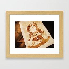 Girl Drinking Coffee - Coffee Art Framed Art Print