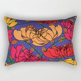 Flowery Pattern Blue Magenta Rectangular Pillow