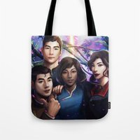 legend of korra Tote Bags featuring The Legend Of Korra by Meder Taab