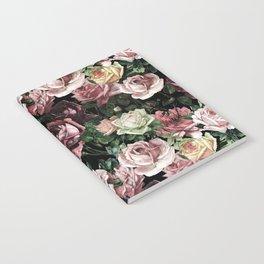 Vintage & Shabby chic - dark retro floral roses pattern Notebook