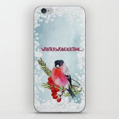 Winter Wondertime - Merry christmas- Little finch on branch-covered with snow iPhone Skin