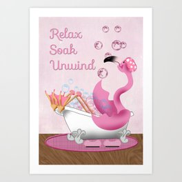 Flamingo Enjoying the Bath Art Print