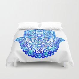 Blue Watercolor Hamsa Duvet Cover