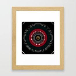 Modern Black White and Red Mandala Framed Art Print