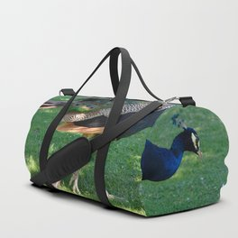 Peacock in the park Duffle Bag