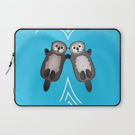 Otters Holding Hands - Otter Couple Laptop Sleeve