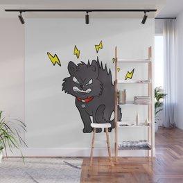 cartoon scared black cat Wall Mural