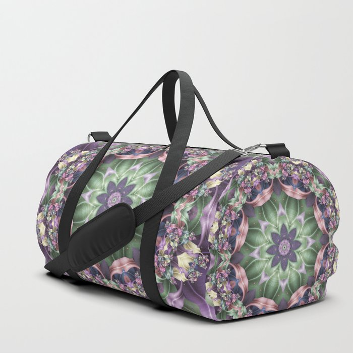 Fractal Ribbon Mandala in Purple, Green, Pink and Yellow Duffle Bag