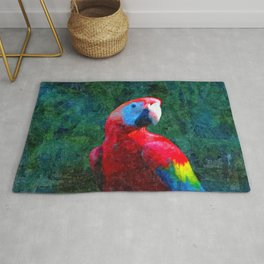 Red Parrot Tropical Bird Painting Rug
