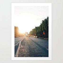 Champs Elysées at sunset Art Print