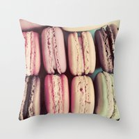 macarons Throw Pillows featuring Macarons by elle moss