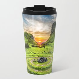 Green nature circle Travel Mug