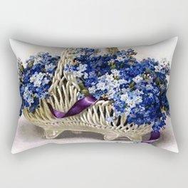 Vintage Flower Basket Forget-Me-Not Rectangular Pillow