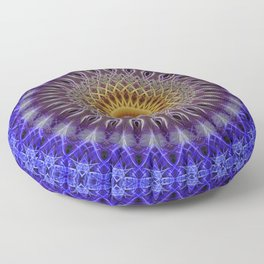 Blue mandala with yellow ornaments Floor Pillow