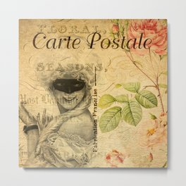 LADY ON VINTAGE FRENCH POSTCARD Metal Print