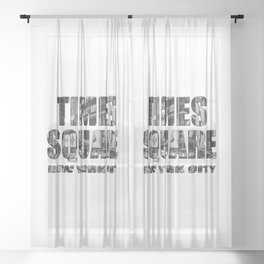 Times Square New York City (B&W photo filled flat type) Sheer Curtain