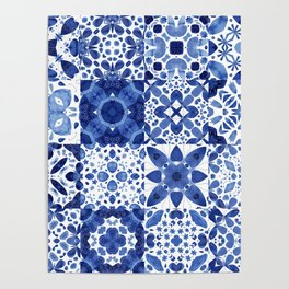 Indigo Watercolor Tiles Poster