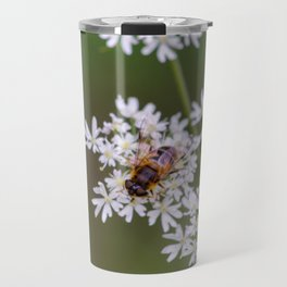 Bee relaxing on a flower. Travel Mug