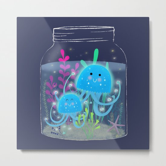 Vacation Memories With Jellyfish In A Jar Metal Print