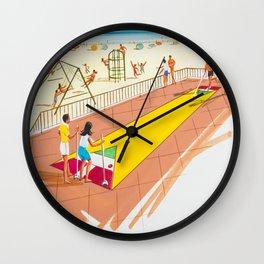 Shuffleboard Art from the 1960's. Retro Illustration. Wall Clock