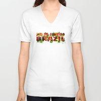 rio de janeiro V-neck T-shirts featuring Rio de Janeiro by J. Ekstrom