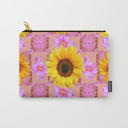 Lilac pink Patterns Sunflower Floral Art Carry-All Pouch