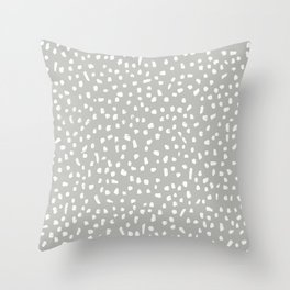 Grey and White Painted Speckle Pattern Throw Pillow