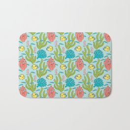 Tropical Fish and Coral Reef in Pastel Bath Mat