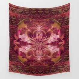 Deep Crimson Feng Shui Earth Portal Wall Tapestry