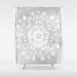 white on gray mandala design Shower Curtain