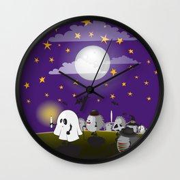 halloween hedgehogs party gang Wall Clock