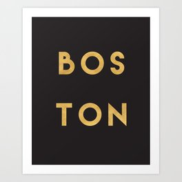 BOSTON MASSACHUSETTS GOLD CITY TYPOGRAPHY Art Print