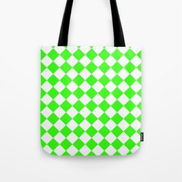 Diamonds - White and Neon Green Tote Bag