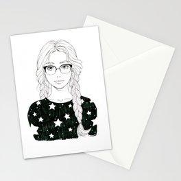 Stars manga girl Stationery Cards