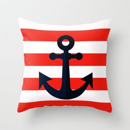 Simple anchor on red Throw Pillow