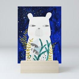 polar bear with botanical illustration in blue Mini Art Print